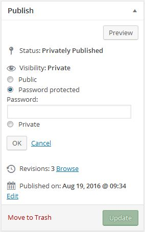 ePortfolio privacy settings individual pages
